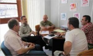 Amadeu Sanchis con los miembros del comité de empresa de la EMT
