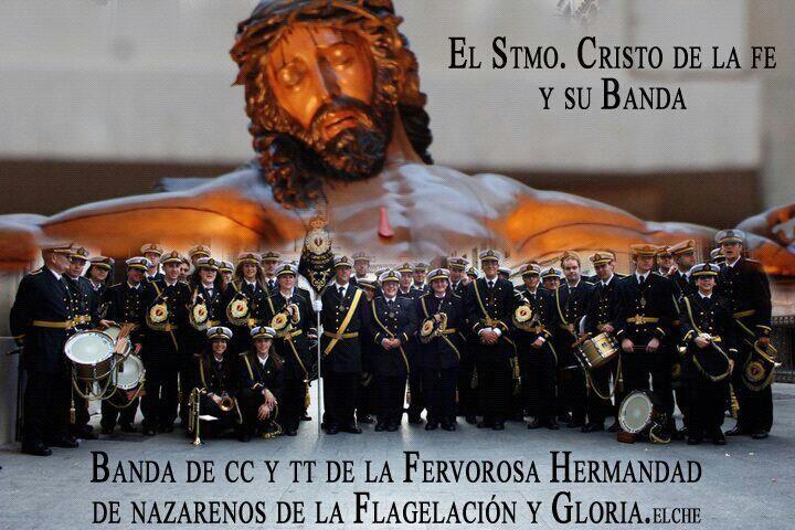 Cartel con la imagen titular de la hermandad de la Flagelación con su banda/flagelación