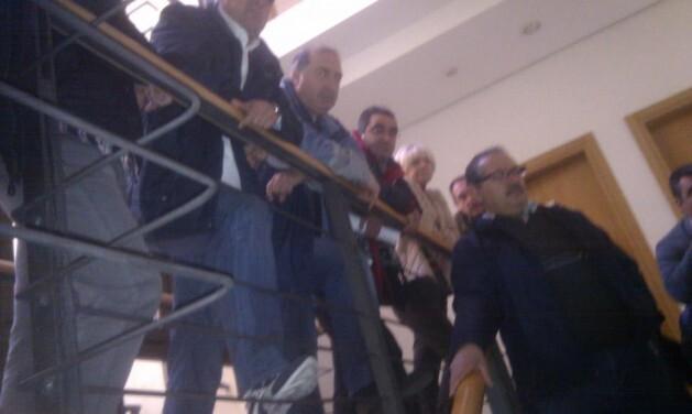 Los trabajadores el día de la ocupación de las oficinas de Correo Viejo/vlcciudad