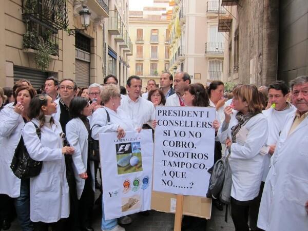 Un grupo de farmacéuticos en una manifestación de meses pasados/globedia