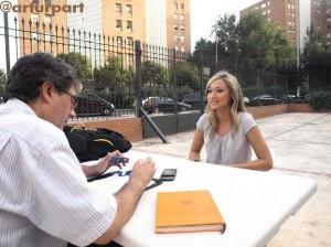 Marta Chico durante la entrevista en los jardines de la Junta Central Fallera/Sergio Blanco