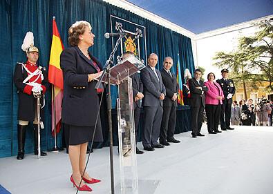 La alcaldesa en el día de la Policía Local de 2009 cuando anunció el inicio de las obras del centro de seguridad/ayto.vlc