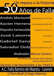 Cartel de la charla de la falla Ramiro Maeztu-Lleones