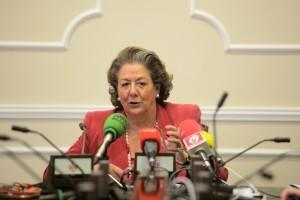 La alcaldesa Rita Barberá realiza el balance de las primeras horas de la huelga general en el ayuntamiento/ayto vlc