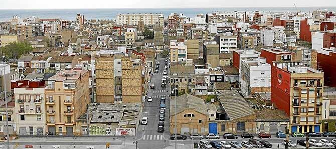 Una vista aérea del barrio del Cabanyal