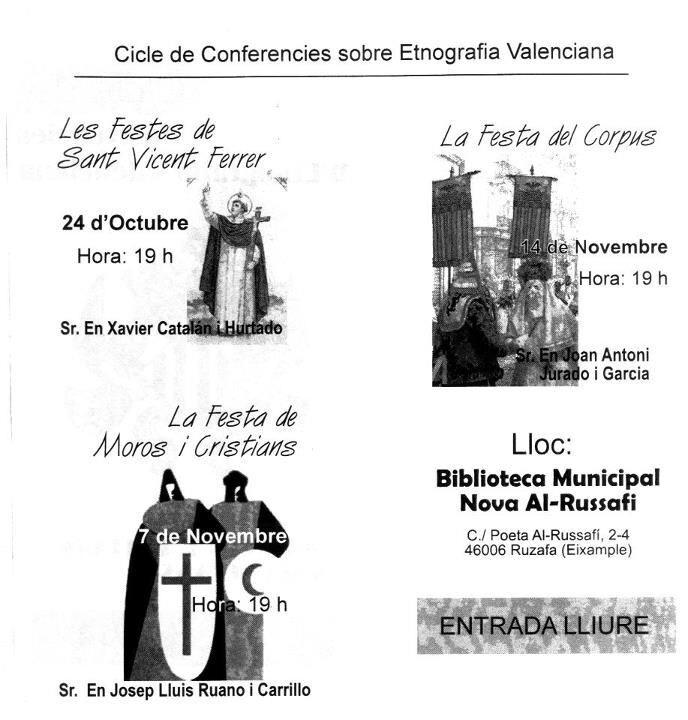 Cartel de las charlas que se celebran en la biblioteca de Ruzafa