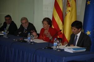 La alcaldesa, Rita Barberá, durante la rueda de prensa posterior a la reunión/ayto vlc