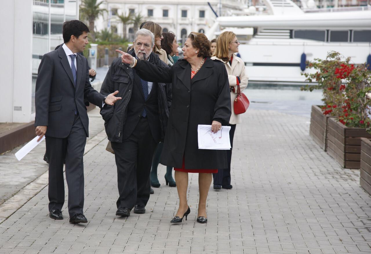 Barberá y Landecho explican al Secretario de Estado, Beteta, los detalles del plan de usos de la Marina Real/ayto vlc