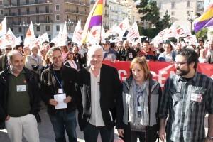 Los dirigentes de Esquerra Unida con Cayo Lara en el acto de hoy/eu
