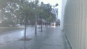 Efectivos policiales en el Campus de Tarongers/L Áccent