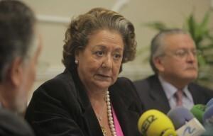La alcaldesa, Rita Barberá, en la presentación de los presupuestos con Grau y Senent/ayto vlc