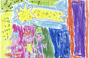 Una postal navideña hecha por una alumna del centro ocupacional Grabador Planes