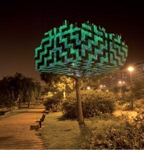 Una de las zonas de la Alameda con uno de los árboles iluminado/ayto vlc