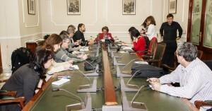 Vista de la sala de la junta de gobierno durante la rueda de prensa de la alcaldesa, Rita Barberá/isaac ferrera