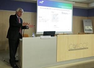 Avelino Acero, director general de FCC Construcción, en la charla/colegio ingenieros