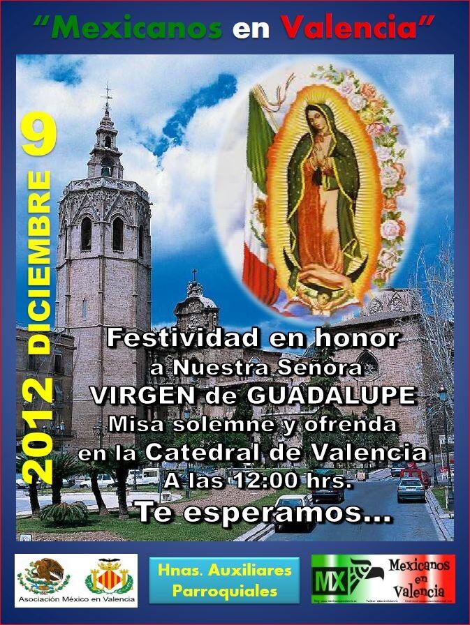 Cartel diseñado para anunciar los actos a la Virgen de Guadalupe