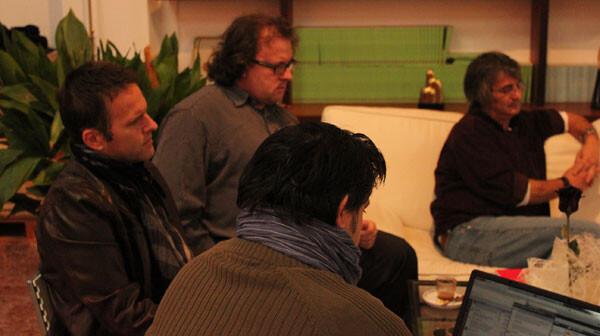 Francisco Estellés, entre José A. Garzón y Manuel Furió, interviene en #EnClaveVLC