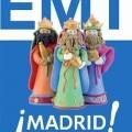 Un cartel con el lema de la EMT de Madrid y las figuras de los Reyes Magos