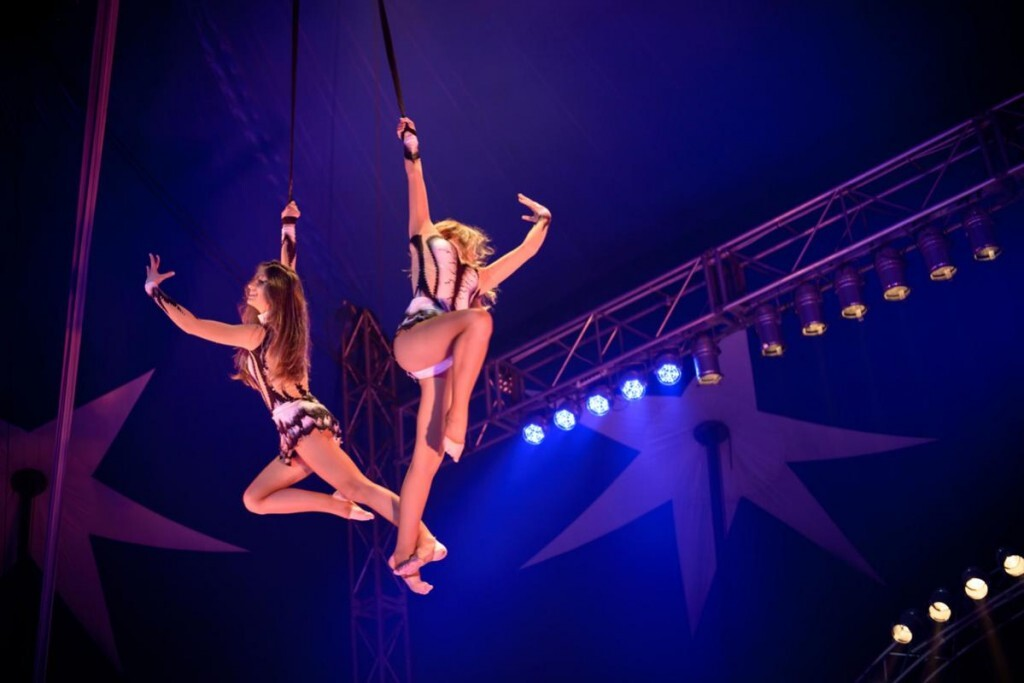 Dos artistas en lo alto de la carpa del circo/circoplazadetoros