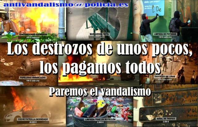Cartel de la Policía Nacional para prevenir destrozos en el mobiliario urbano/cnp' class=