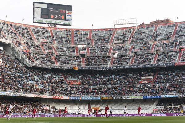 La curva nord, vacía en el Valencia CF- RCD Mallorca, 2-0. Foto: Isaac Ferrera