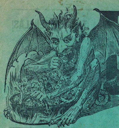 Escena satánica. Grabado valenciano siglo XIX. Foto: Archivo privado de Rafael Solaz