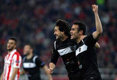 Los granotas celebran el gol contra el Olimpiacos. Foto: Levante UD