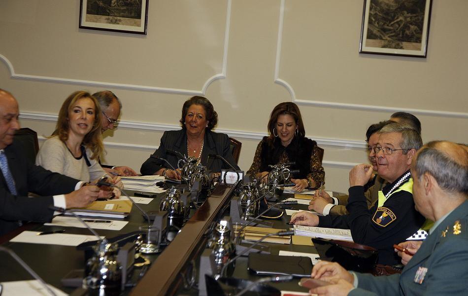 Un momento de la reunión de la junta local de segurida/ayto valencia