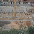 Vista de la zona de obras del polideportivo hace unas semanas cuando aún se trabajaba