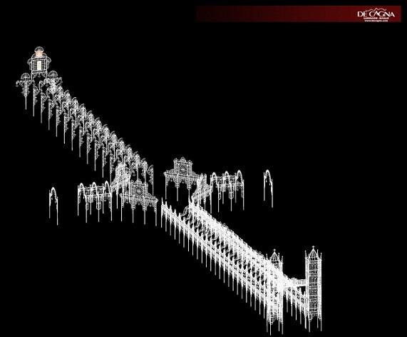Figuración aérea del montaje lumínico de la falla Sueca que por vez primera se podrá visitar por dentro y subir a la Torre/DeCagna