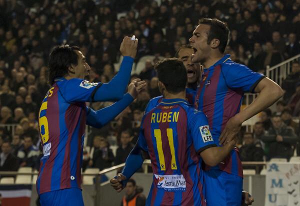 Los granotas celebran el gol. Foto: Isaac Ferrera