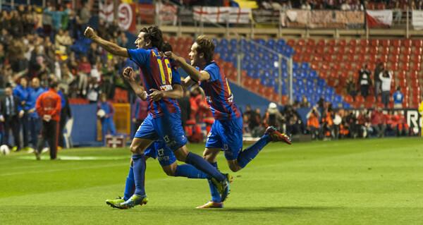 Los granotas celebran el gol de Rubén García. Foto: Isaac Ferrera