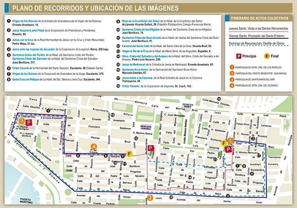 Plano con la ubicación de las imágenes en las casas particulares y plano de recorridos. El de hoy irá por la calle Reina no por Barraca/vlcciudad