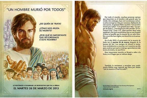 Cartel sobre la conmemoración de la muerte de Cristo que celebran hoy los Testigos de Jehova