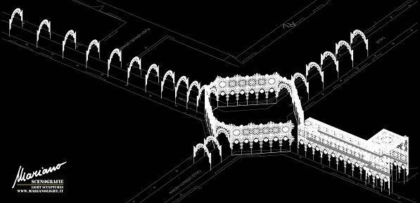 Figuración de como se podrá ver desde el aire la iluminación de la falla Cuba-Literato Azorín/falla cuba-Lit-marianolight