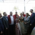 Los consellers de Hacienda y Sanidad con las Falleras Mayores de Valencia y la alcaldesa hoy en el balcón/ayto vlc