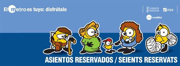 Metrovalencia inicia una campaña de concienciación para respetar los asientos reservados