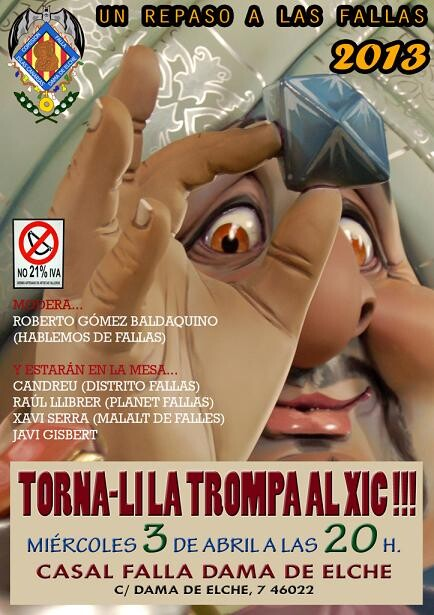 Cartel anunciador de la charla en la falla Islas Canarias-Dama de Elche/vlcciudad