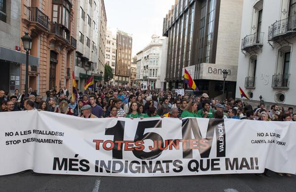 La cabeza de la manifestación en la calle Las Barcas/Isaac Ferrera