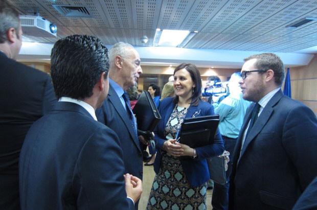 Mª José Catalá durante la conferencia de hoy.