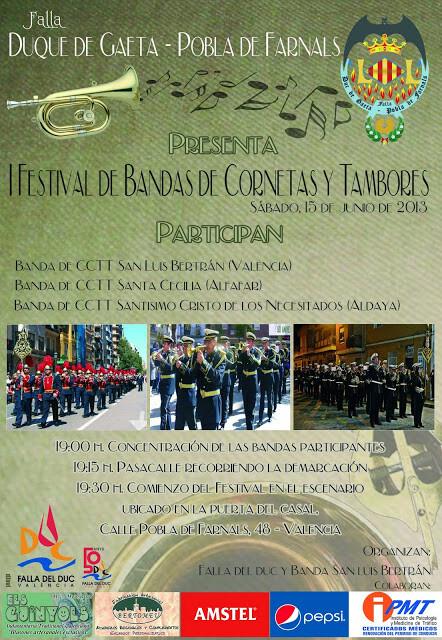 Cartel oficial del I Festival de Cornetas y Tambores que organiza la falla Duque de Gaeta/falla Duque Gaeta