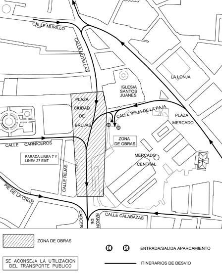 Plano de las obras en la plaza de Brujas e itinerarios alternativos.