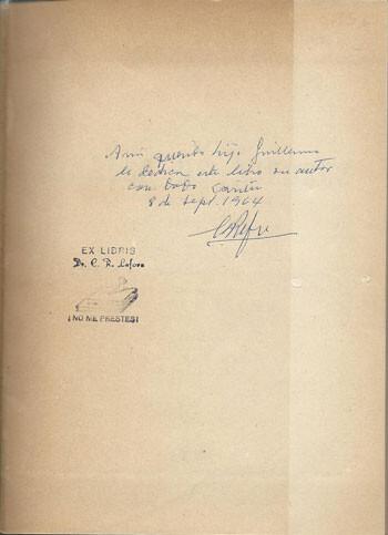 Dedicatoria de Lafora a su hijo. Gentileza de Miquel Artigas (Sabadell)
