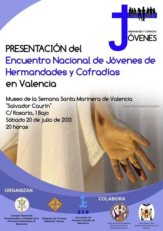 Cartel de la presentación del acto cofrade que tendrá lugar en Valencia el próximo 20 de julio