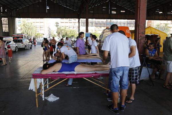 El Tinglado II albergó la zona de masajes al acabar la travesía/m.molines