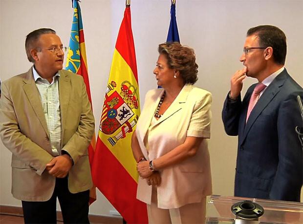 El Concejal Míchel Domínguez, con Rita Barberá y Serafín Castellano.