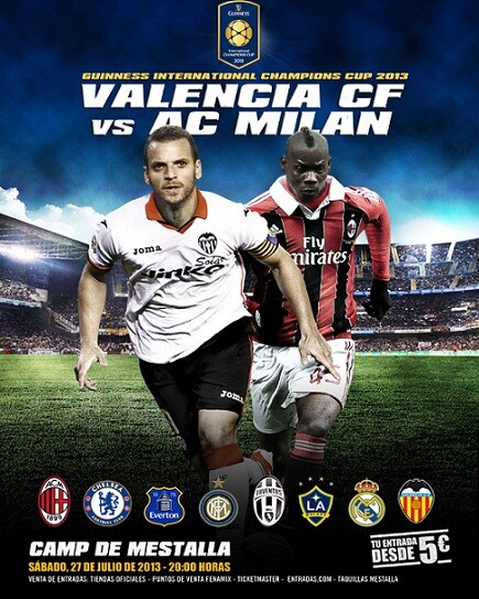 Cartel del encuentro que se disputará en Mestalla contra el A.C. Milan/vcf
