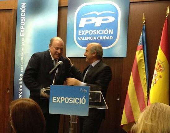 El presidente del distrito de Exposición, Julio Aguado, con el presidente de Valencia Ciudad, Alfonso Novo/exposición