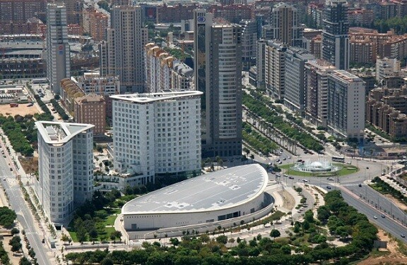 Imagen aérea del Palacio de Congresos de Valencia