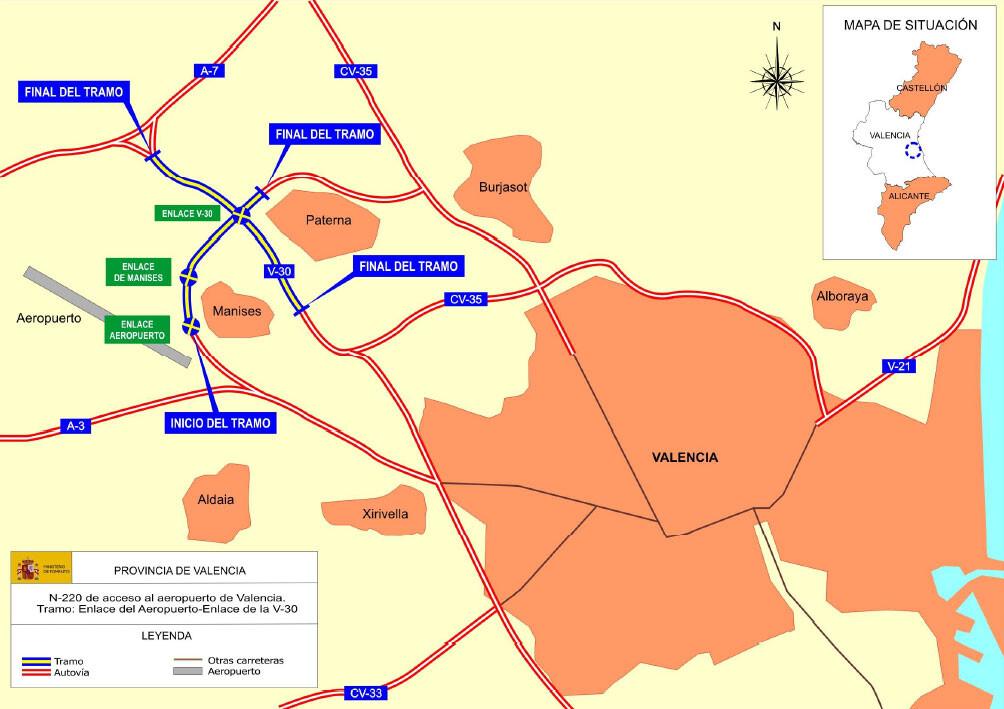 Mapa en el que se especifican las actuaciones incluidas en el proyecto de mejoras de acceso al Aeropuerto de Valencia. Foto: Fomento